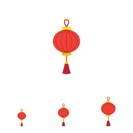 tassel: Vector icon of red Chinese lantern with tassel Illustration