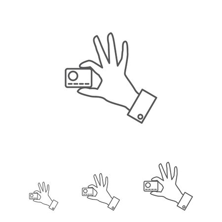 withdraw: Icon of man hand holding credit card with two fingers