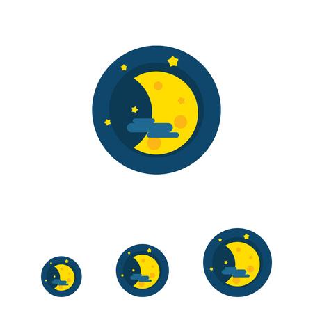 crescent: Multicolored vector icon of crescent, stars and cloud