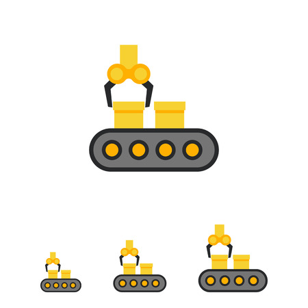 Vector icon of conveyor belt with boxes and industrial robot Illustration