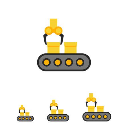 Vector icoon van de transportband met dozen en industriële robot