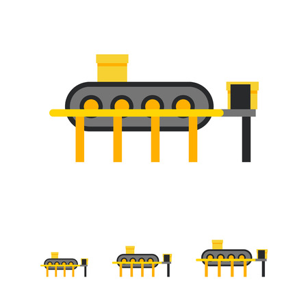 conveyor: Multicolored vector icon of conveyor machine with boxes