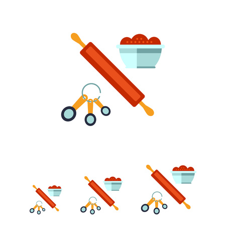 measuring spoon: Multicolored vector icon of kitchen cooking set with rolling pin, spoon set and bowl Illustration