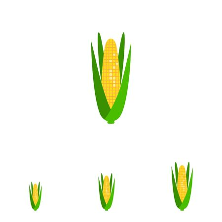 corn on the cob: Multicolored vector icon of corn cob with green leaves
