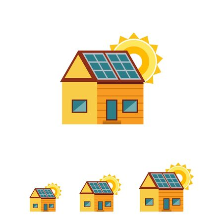 panels: Vector icon of cottage house with solar panels on roof and sun Illustration