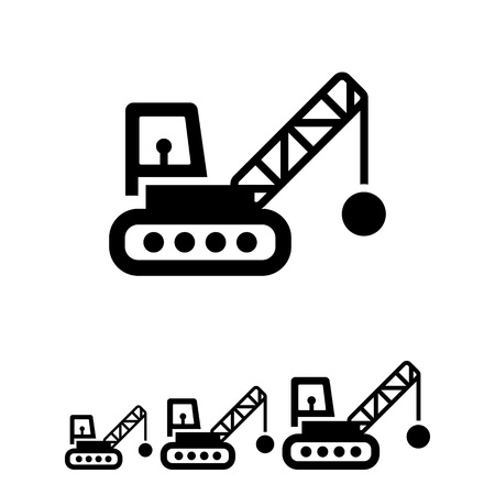 ball chains: Icon of crane with wrecking ball