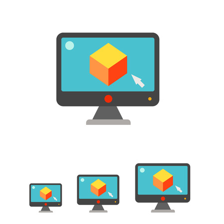 screen savers: Multicolored vector icon of computer monitor with cube on screen