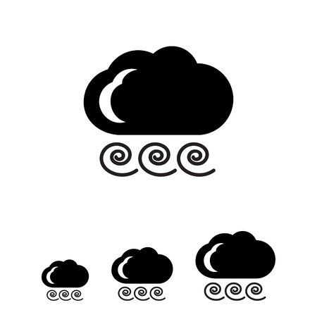 strong wind: Icon of cloud and strong wind sign