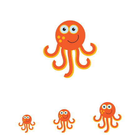 tentacle: Vector icon of cute smiling cartoon octopus
