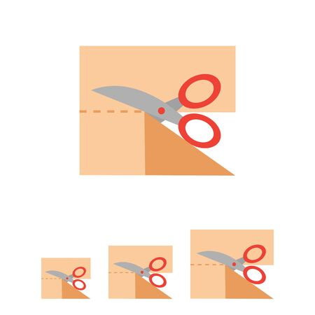 dressmaking: Icon of scissors cutting cloth piece