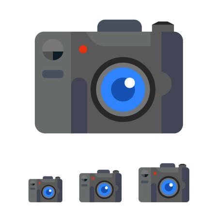 Multicolored vector icon of digital snapshot camera