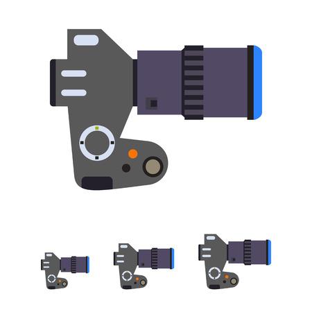 slr: Multicolored vector icon of digital SLR camera