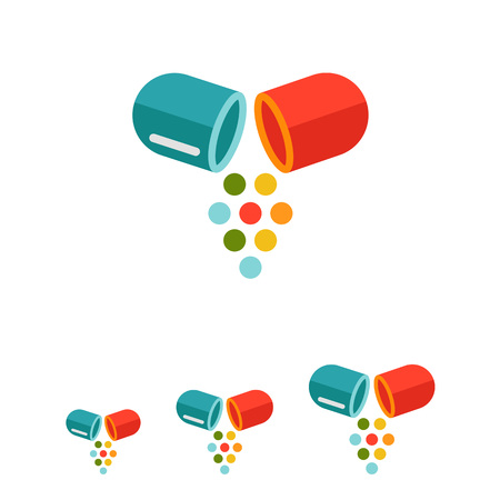divided: Vector icon of divided capsule with multicolored particles falling out