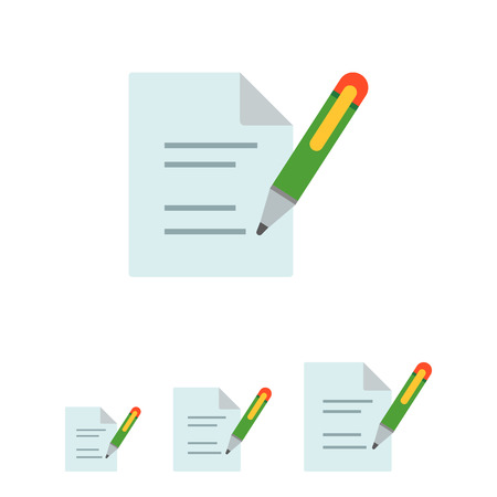 signing papers: Icon of document and writing pen Illustration