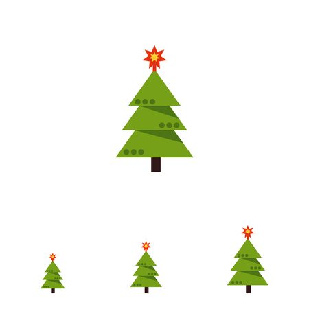 decorated: Multicolored vector icon of decorated Christmas tree Illustration
