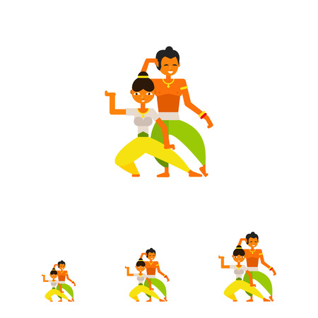 young woman legs up: Multicolored vector icon of Indian man and woman wearing traditional Indian costumes and dancing