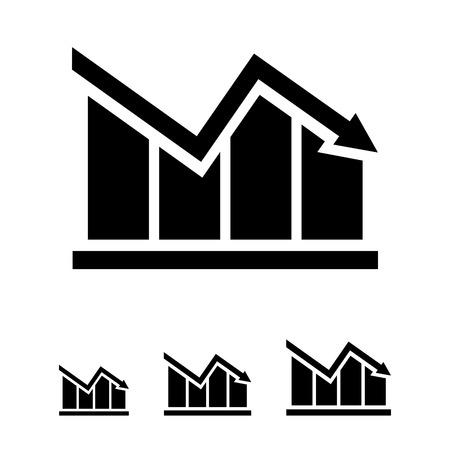 declining: Icon of declining bar chart Illustration