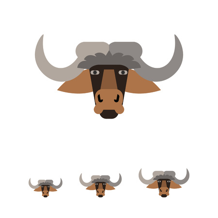 ox eye: Multicolored icon of brown bull head with horns Illustration