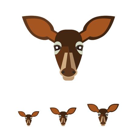 doe: Multicolored vector icon of brown doe head