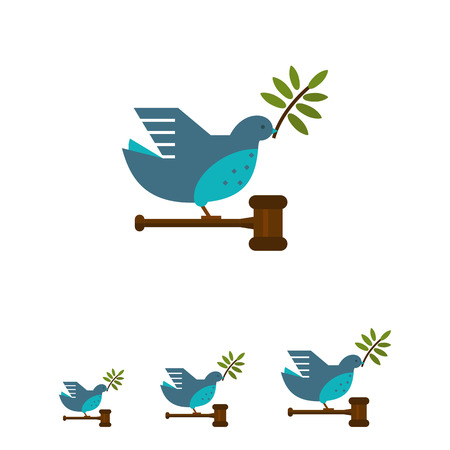 Vector icon of grey dove with olive twig in its beak, carrying gavel