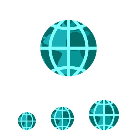 meridians: Vector icon of Earth globe with meridians and parallels, isolated on white