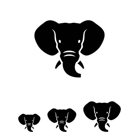 elephant head: Vector icon of black elephant head silhouette