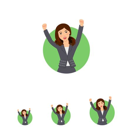 businesswoman skirt: Female character, portrait of excited successful businesswoman wearing suit