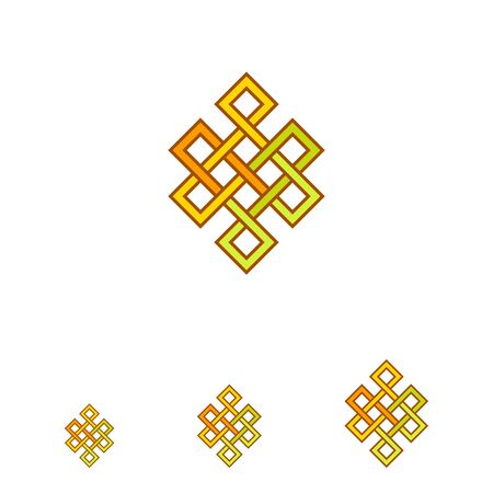 sanskrit: Multicolored vector icon of Indian Endless knot