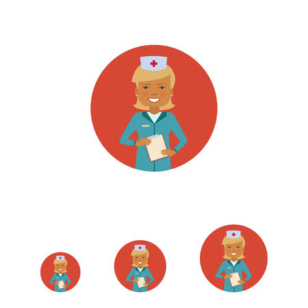 Female character, portrait of smiling doctor holding clipboard Ilustrace