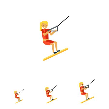water skiing: Multicolored vector icon of female character water skiing