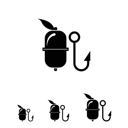 fisheries: Vector icon of fishing float and hook