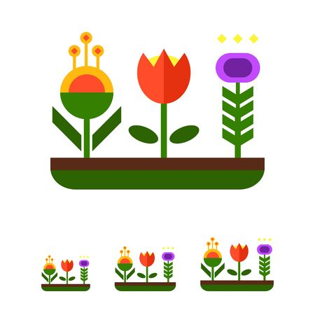 flower bed: Vector icon of flower bed with various flowers Illustration