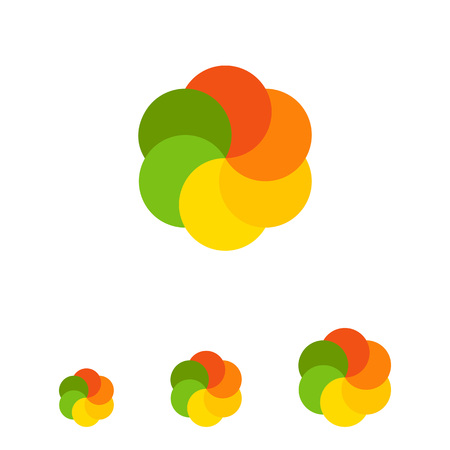 logo element: Multicolored vector icon of flower shape for logo design