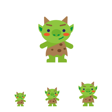 troll: Vector icon of funny green troll with horns