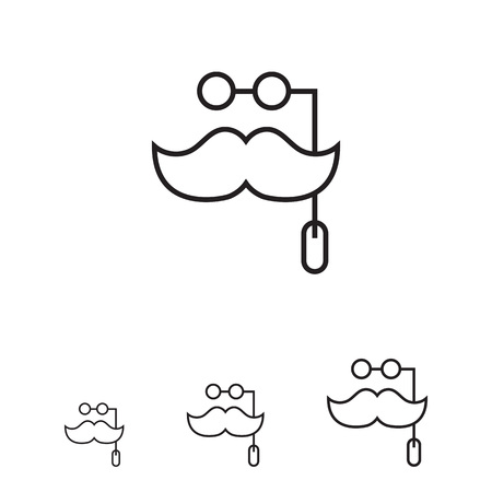 spectacles: Icon of mask with moustache and spectacles