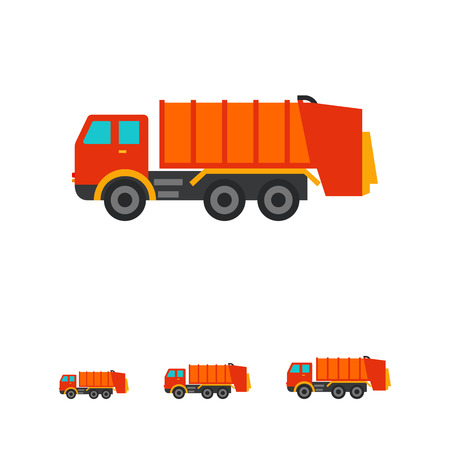 dumping: Multicolored vector icon of garbage dumping truck