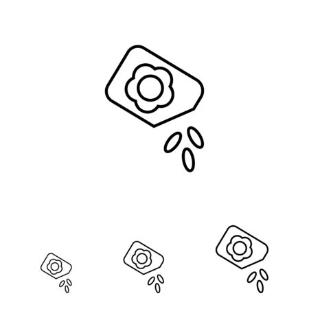 few: Icon of flower seed packet with few seeds falling out Illustration