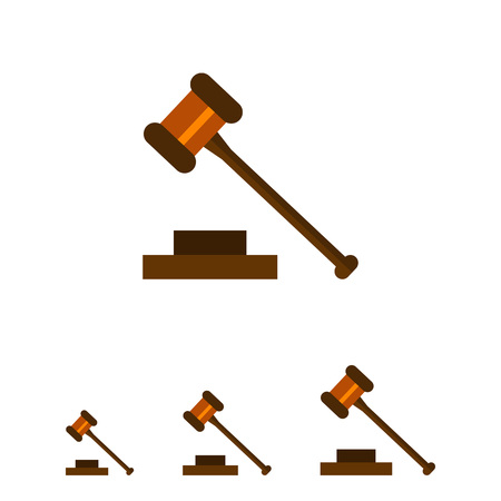 legality: Multicolored vector icon of judge gavel isolated on white