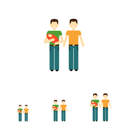 nontraditional: Icon of gay family consisting of two men and one baby