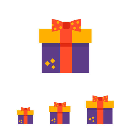red gift box: Vector icon of gift box with red ribbon and bow