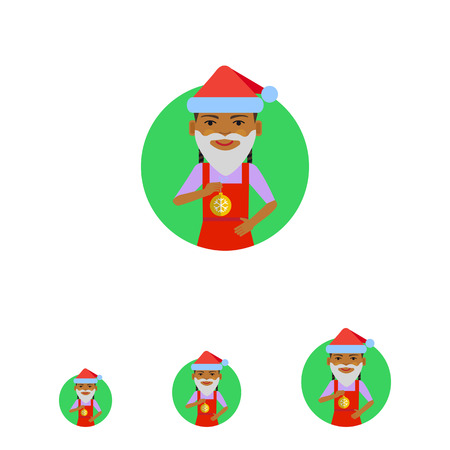 pinafore: Female character, portrait of African American girl wearing Santa hat, fake beard, holding Christmas ball Illustration