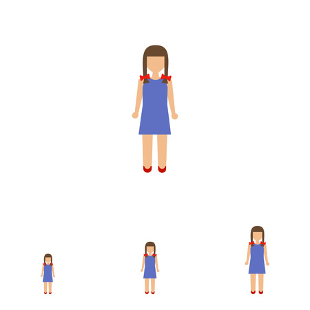 braids: Icon of girl with braids wearing blue dress Illustration