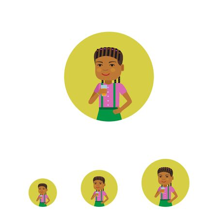 pinafore: Female character, portrait of smiling African American girl holding glass of juice