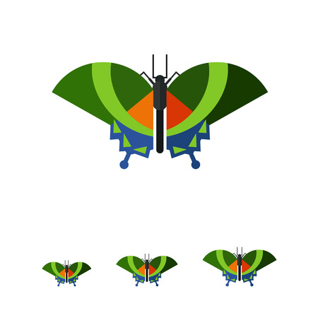 blue stripes: Multicolored vector icon of green butterfly with blue stripes