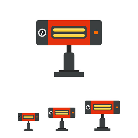 warmness: Multicolored vector icon of electric heating lamp Illustration
