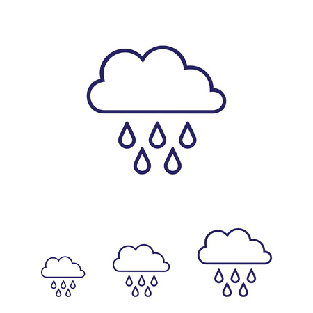 Icon of clouds and falling raindrops