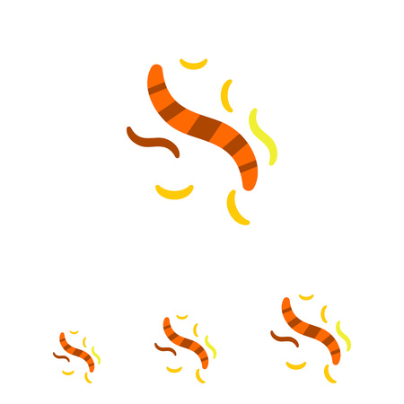 Multicolored vector icon of striped, yellow and orange helminthes Иллюстрация