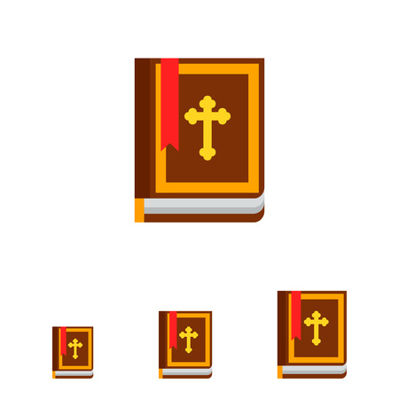 bible book: Icon of brown Holy Bible book with Christian cross on cover and red bookmark