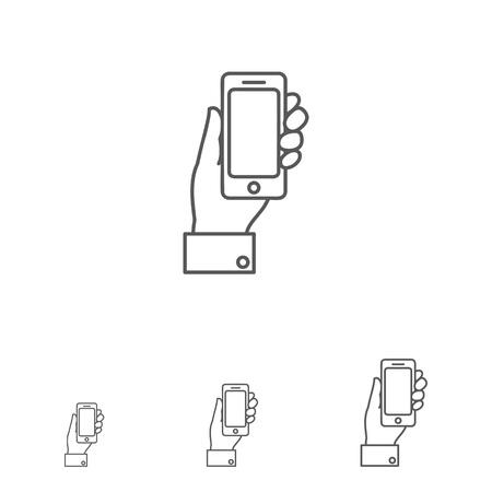 smartphone hand: Icon of man hand holding smartphone