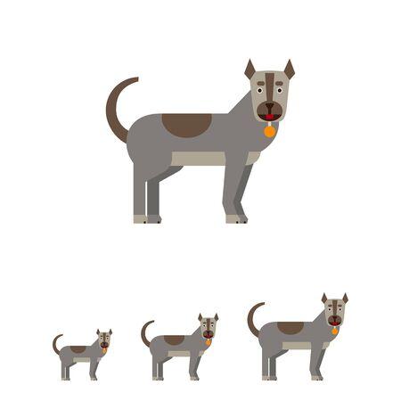 Veelkleurige vector icoon van grijze hond met halsband